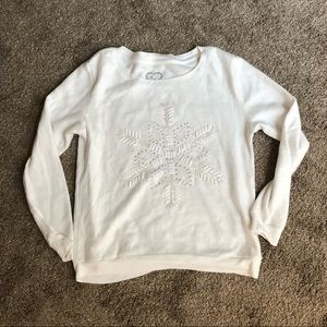 Aerie American Eagle White Soft Snowflake Sweater
